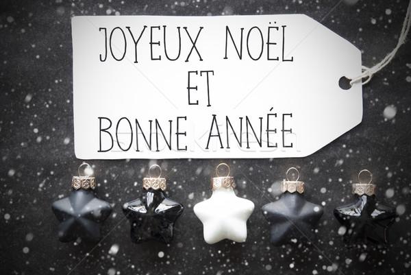 Black Christmas Balls, Snowflakes, Bonne Annee Means Happy New Year Stock photo © Nelosa