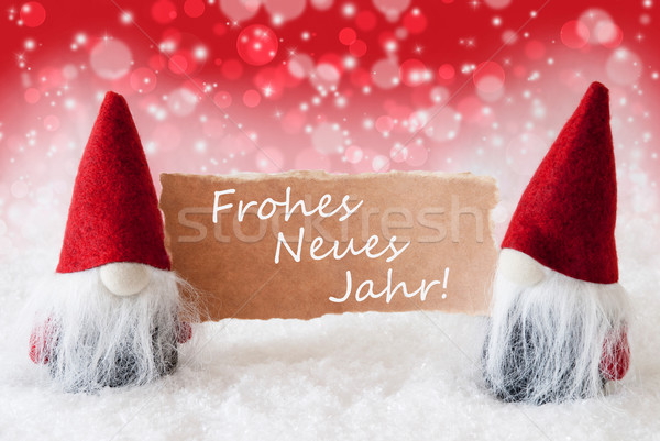 Red Christmassy Gnomes With Card, Neues Jahr Means New Year Stock photo © Nelosa