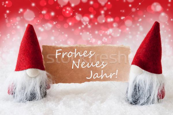 Rojo tarjeta año nuevo Navidad tarjeta de felicitación dos Foto stock © Nelosa