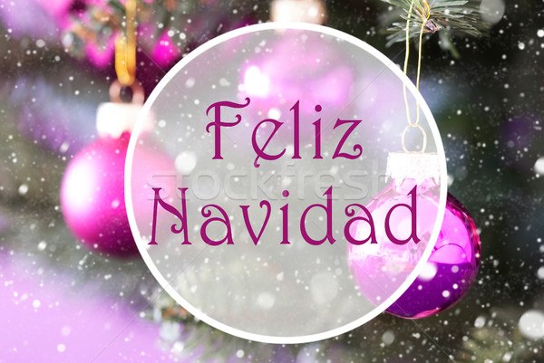 Rose Quartz Balls, Feliz Navidad Means Merry Christmas Stock photo © Nelosa