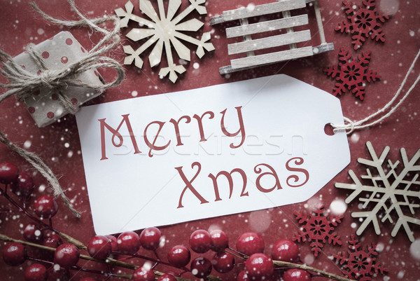 Nostalgiczny christmas dekoracji etykiety tekst wesoły Zdjęcia stock © Nelosa