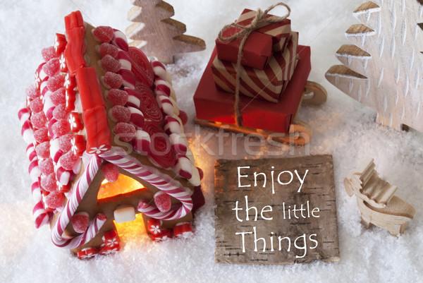 Pão de especiarias casa neve citar desfrutar pequeno Foto stock © Nelosa