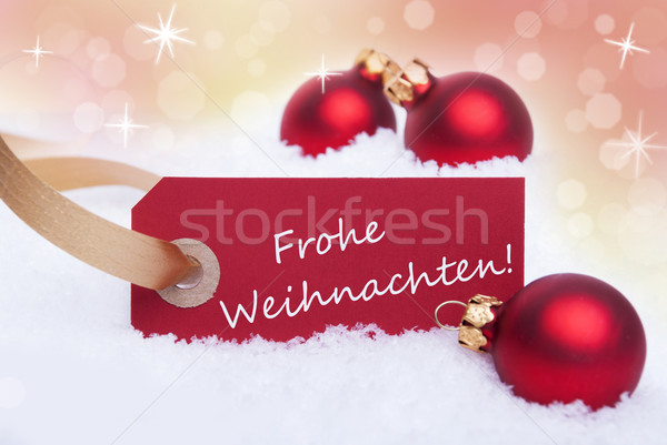 Red Banner with Frohe Weihnachten Stock photo © Nelosa