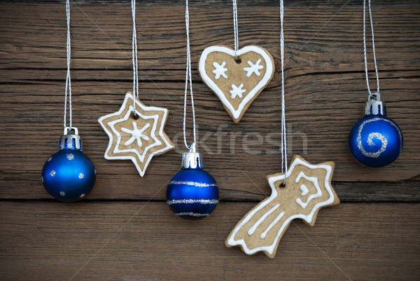Ginger Bread Cookies and Christmas Balls on Wood Stock photo © Nelosa