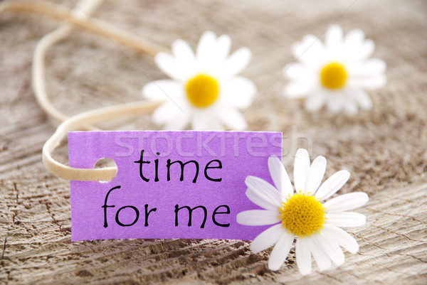 Purple Label With Life Quote Time For Me And Marguerite Blossoms Stock photo © Nelosa