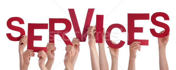 Many People Hands Holding Red Word Services Stock photo © Nelosa