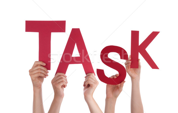 Many People Hands Holding Red Word Task Stock photo © Nelosa