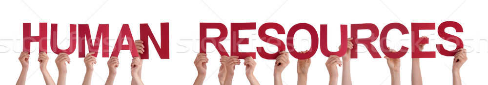 Hands Holding Red Straight Word Human Resources  Stock photo © Nelosa