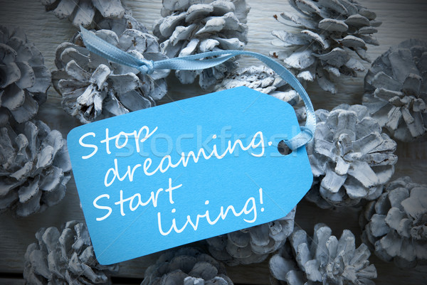 Label On Fir Cones Quote Dreaming Start Living Stock photo © Nelosa