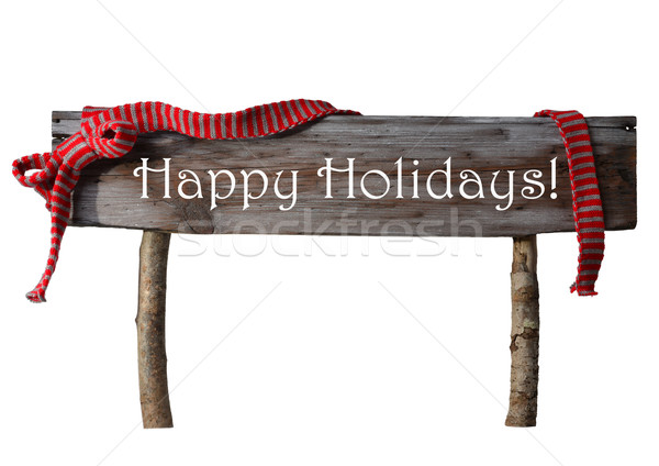 Brown Isolated Christmas Sign Happy Holidays, Red Ribbon Stock photo © Nelosa