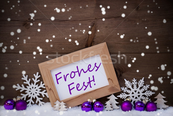 Purple Decoration, Snow, Frohes Fest, Merry Christmas, Snowflake Stock photo © Nelosa