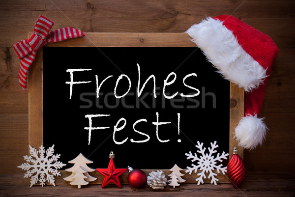 Brown Blackboard Santa Hat Frohes Fest Means Merry Christmas Stock photo © Nelosa
