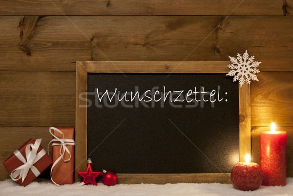 Christmas Card, Blackboard, Snow, Wunschzettel Mean Wish List Stock photo © Nelosa