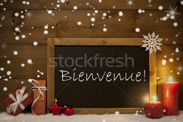 Christmas Card, Blackboard, Snowflakes, Bienvenue Mean Welcome Stock photo © Nelosa
