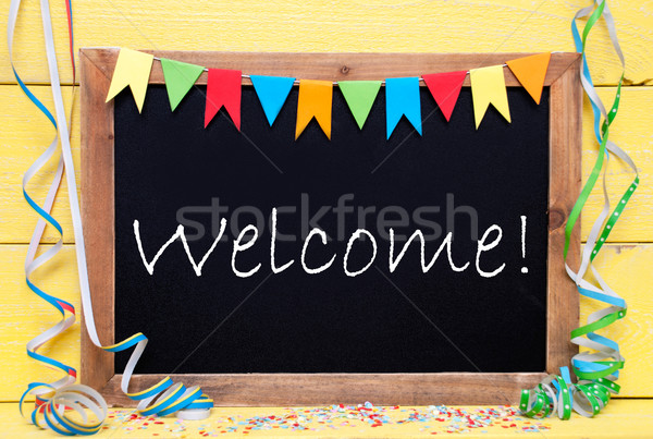 Chalkboard With Party Decoration, Text Welcome Stock photo © Nelosa