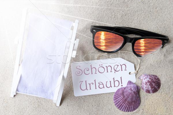 Sunny Flat Lay Summer Label Schoenen Urlaub Means Happy Holidays Stock photo © Nelosa