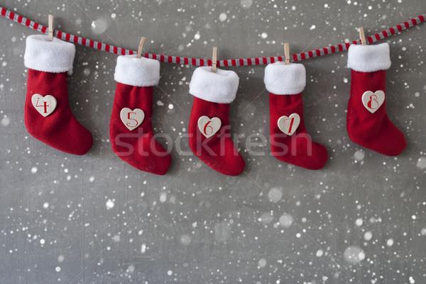 Stiefel Aufkommen Kalender Zement Tag Schneeflocken Stock foto © Nelosa