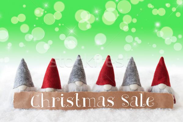 Yeşil bokeh Yıldız metin Noel satış Stok fotoğraf © Nelosa