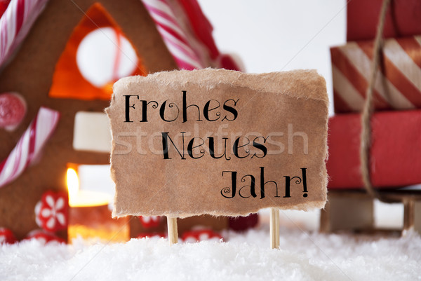 Gingerbread House With Sled, Neues Jahr Means New Year Stock photo © Nelosa