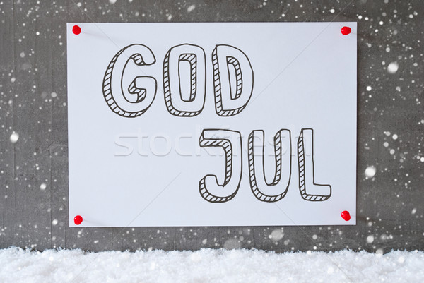 Label On Cement Wall, Snowflakes, God Jul Means Merry Christmas Stock photo © Nelosa