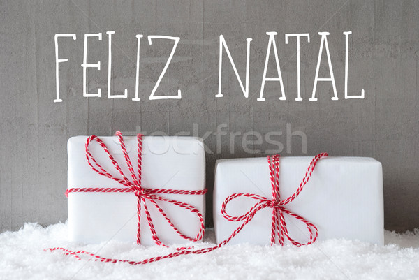 Two Gifts With Snow, Feliz Natal Means Merry Christmas Stock photo © Nelosa