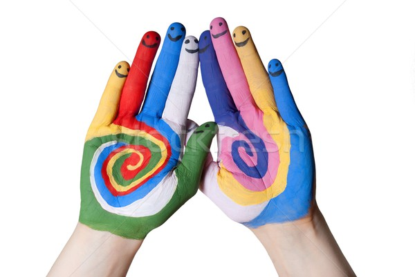 colorful hands with smiling fingers Stock photo © Nelosa