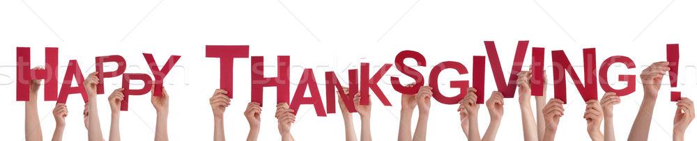 Kezek tart boldog hálaadás sok szavak Stock fotó © Nelosa