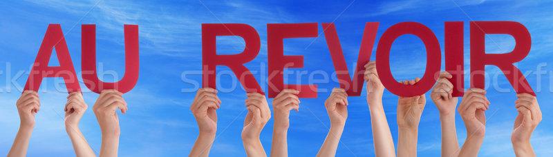 Emberek tart egyenes francia szó viszlát Stock fotó © Nelosa