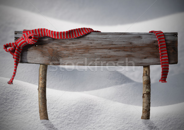 Stock photo: Brown Christmas Sign Copy Snow, Red Ribbon, Snowflakes