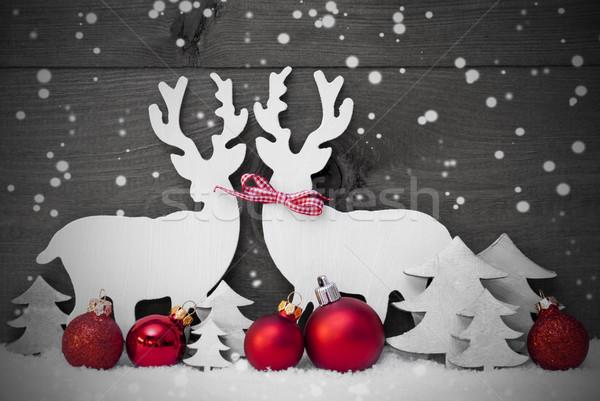 Gray Christmas Decoration, Reindeer Couple, Snowflakes, Red Ball Stock photo © Nelosa