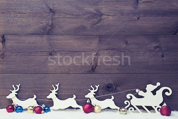 Santa Claus Sled, Reindeers On Snow, Copy Space, Vintage Stock photo © Nelosa