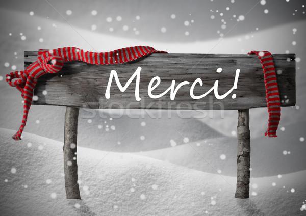 Christmas Sign Merci Means Thank You, Snow, Ribbon, Snowflakes Stock photo © Nelosa