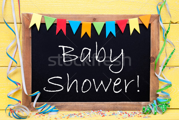 Chalkboard With Party Decoration, Text Baby Shower Stock photo © Nelosa