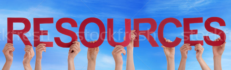Many People Hands Holding Red Straight Word Resources Blue Sky Stock photo © Nelosa