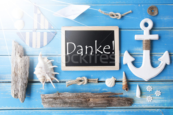 Sunny Nautic Chalkboard, Danke Means Thank You Stock photo © Nelosa