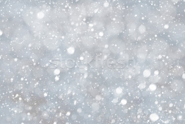 Silver Christmas Background With Snwoflakes And Bokeh, Blue Color Stock photo © Nelosa
