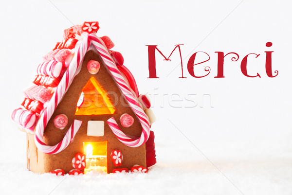 Gingerbread House, White Background, Merci Means Thank You Stock photo © Nelosa