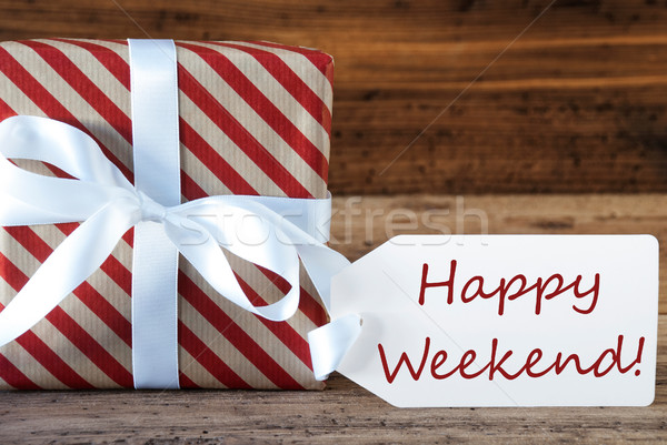 Present With Label, Text Happy Weekend Stock photo © Nelosa