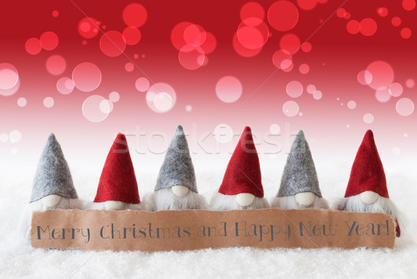 Gnomes, Red Background, Bokeh, Merry Christmas And Happy New Year Stock photo © Nelosa