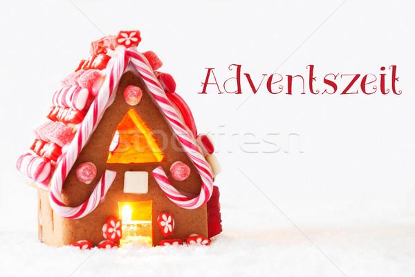 Gingerbread House, White Background, Adventszeit Means Advent Season Stock photo © Nelosa