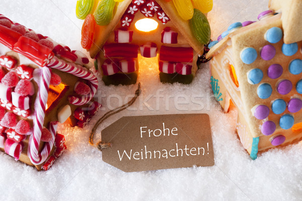 Colorful Gingerbread House, Snow, Frohe Weihnachten Means Merry Christmas Stock photo © Nelosa
