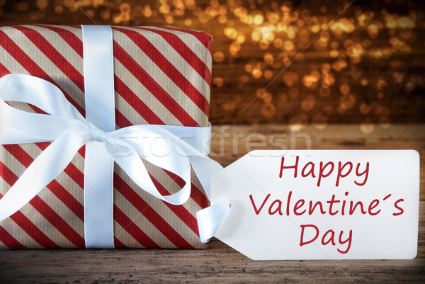 Atmospheric Christmas Gift With Label, English Text Happy Valentines Day Stock photo © Nelosa