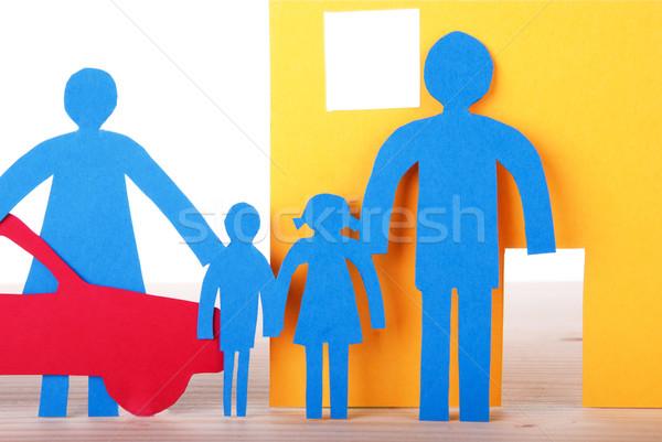 Papel casa da família azul carro isolado Foto stock © Nelosa