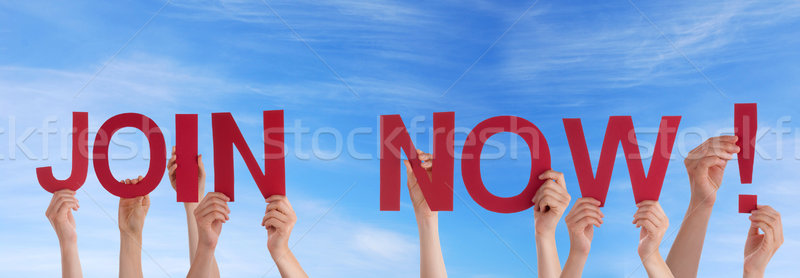 Stock photo: People Holding Join Now in the Sky