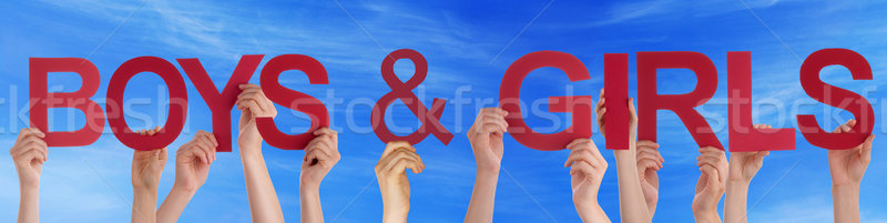 People Hold Red Straight Word Boys Girls Blue Sky Stock photo © Nelosa