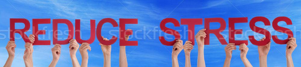People Hold Straight Word Reduce Stress Blue Sky Stock photo © Nelosa