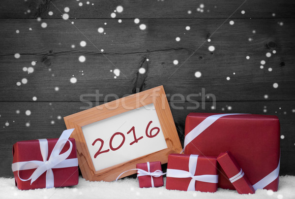 Red Gray Christmas Decoration, Gifts, Snow, 2016, Snowflakes Stock photo © Nelosa