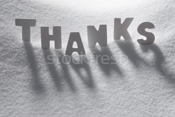 Blanche mot remerciements neige lettres bâtiment Photo stock © Nelosa
