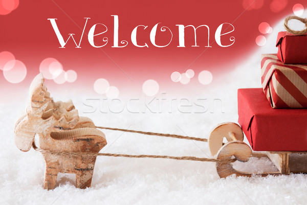 Reindeer With Sled, Red Background, Text Welcome Stock photo © Nelosa
