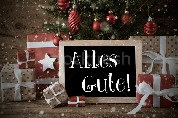 Nostalgic Christmas Tree, Snowflakes, Alles Gute Means Best Wish Stock photo © Nelosa